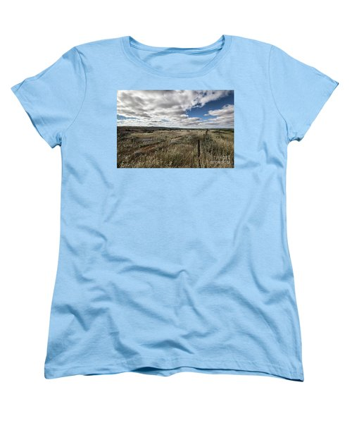 Women's T-Shirt (Standard Cut) featuring the photograph Flinders Ranges Fields V2 by Douglas Barnard