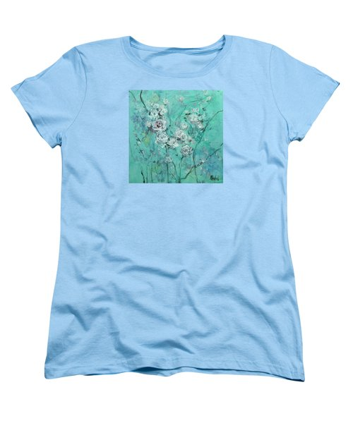 Women's T-Shirt (Standard Cut) featuring the painting Floating Roses Painting by Chris Hobel