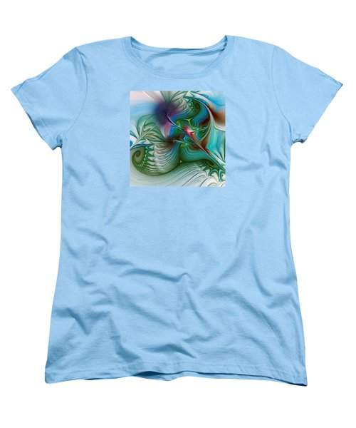Women's T-Shirt (Standard Cut) featuring the digital art Floating Through The Abyss by Karin Kuhlmann