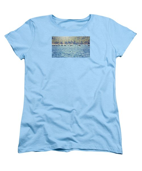 Women's T-Shirt (Standard Cut) featuring the photograph Flock Of Geese by Janie Johnson