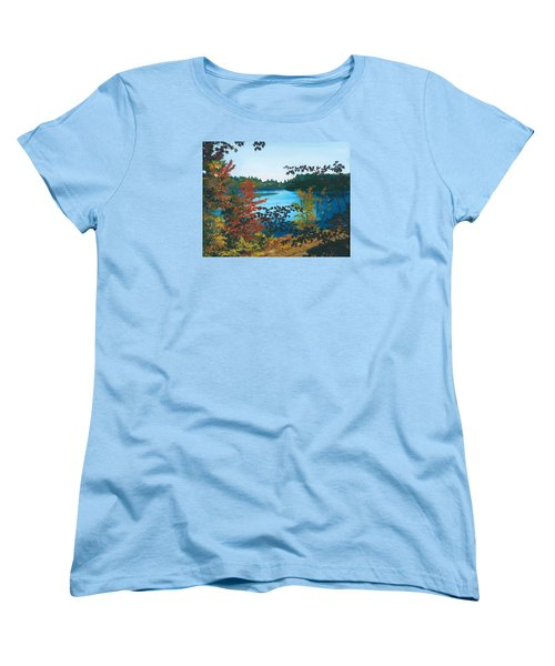 Women's T-Shirt (Standard Cut) featuring the painting Floodwood by Lynne Reichhart