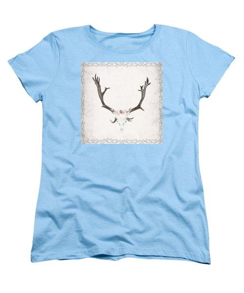 Floral Reindeer Skull  Women's T-Shirt (Standard Cut)