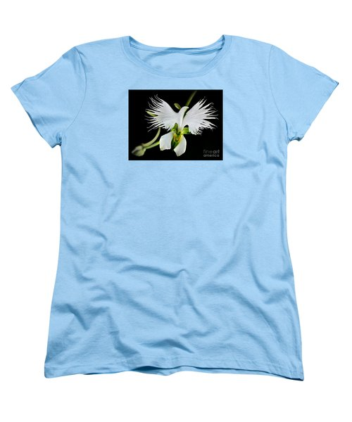 Flower Oddities - Flying White Bird Flower Women's T-Shirt (Standard Cut) by Merton Allen