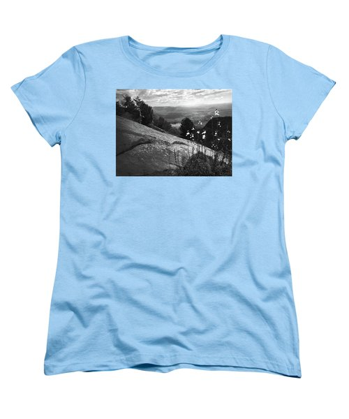 Flowers At Table Rock Overlook In Black And White Three Women's T-Shirt (Standard Cut) by Kelly Hazel