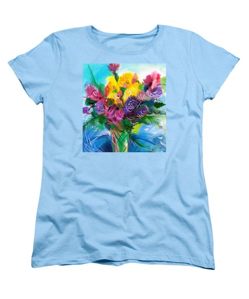 Women's T-Shirt (Standard Cut) featuring the painting Flowers For My Jesus by Karen Showell