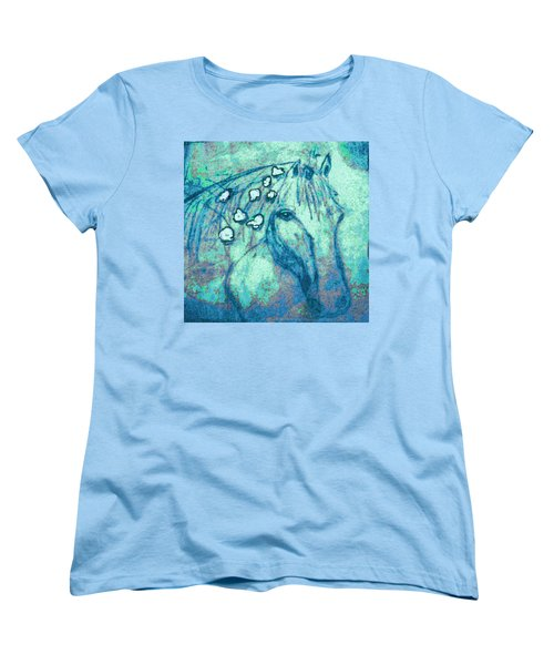Women's T-Shirt (Standard Cut) featuring the painting Flowers In Her Hair by Holly Martinson