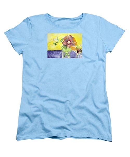 Flowers On A Blue Table Women's T-Shirt (Standard Cut)