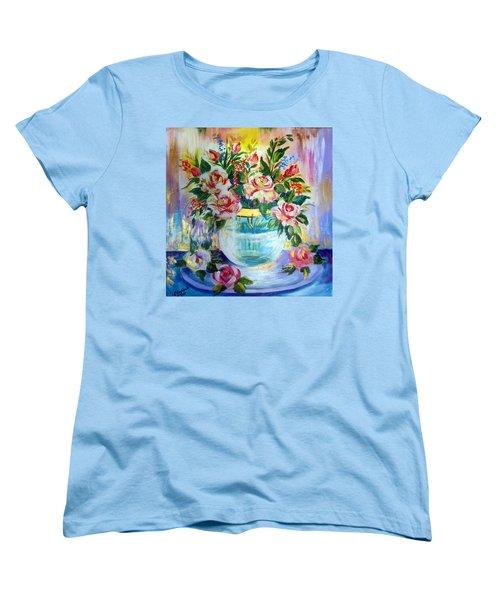 Women's T-Shirt (Standard Cut) featuring the painting Flowers Still Life  by Roberto Gagliardi