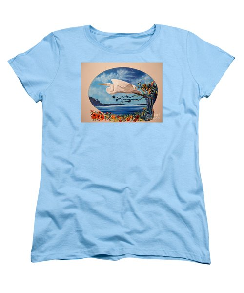 Women's T-Shirt (Standard Cut) featuring the painting Flying Egret by Sigrid Tune