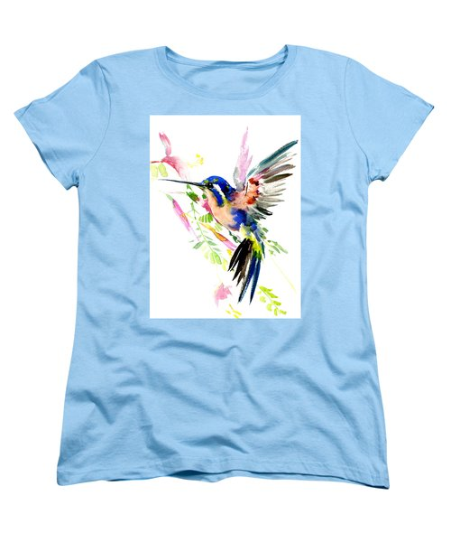 Flying Hummingbird Ltramarine Blue Peach Colors Women's T-Shirt (Standard Cut) by Suren Nersisyan