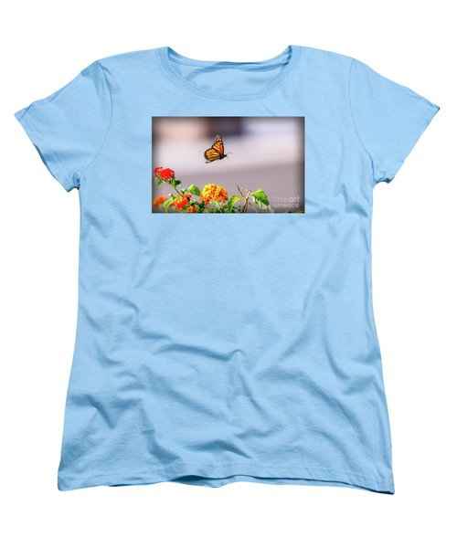 Women's T-Shirt (Standard Cut) featuring the photograph Flying Monarch Butterfly by Robert Bales
