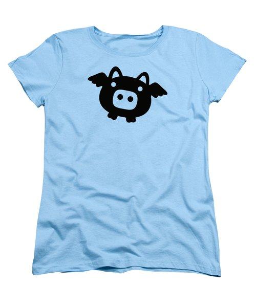 Flying Pig - Black Women's T-Shirt (Standard Cut) by Julia Jasiczak