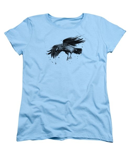 Flying Raven Watercolor Women's T-Shirt (Standard Cut) by Olga Shvartsur