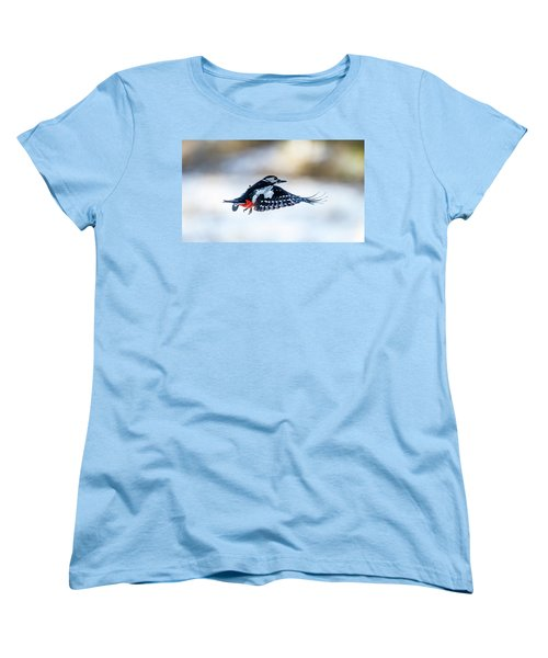 Women's T-Shirt (Standard Cut) featuring the photograph Flying Woodpecker by Torbjorn Swenelius