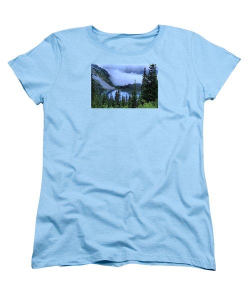 Fog Over Louise Lake Women's T-Shirt (Standard Cut) by Lynn Hopwood
