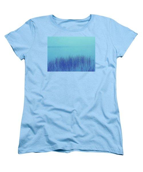 Women's T-Shirt (Standard Cut) featuring the photograph Fog Reeds by Laurie Stewart