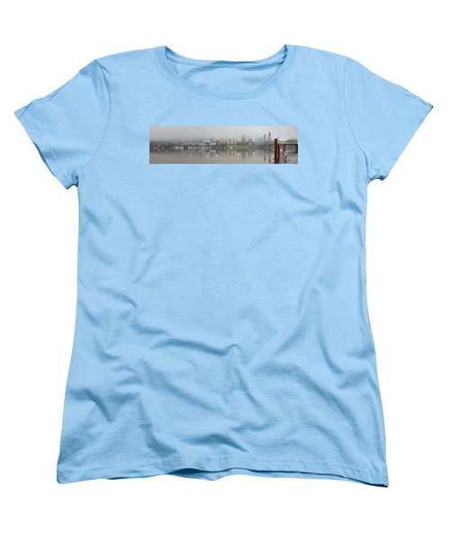Foggy Day Along Portland Waterfront Panorama Women's T-Shirt (Standard Fit)