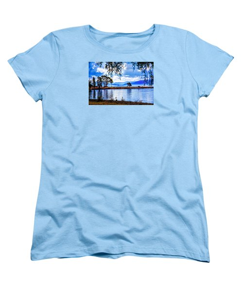 Women's T-Shirt (Standard Cut) featuring the photograph Foggy Hills And Lakes by Rick Bragan