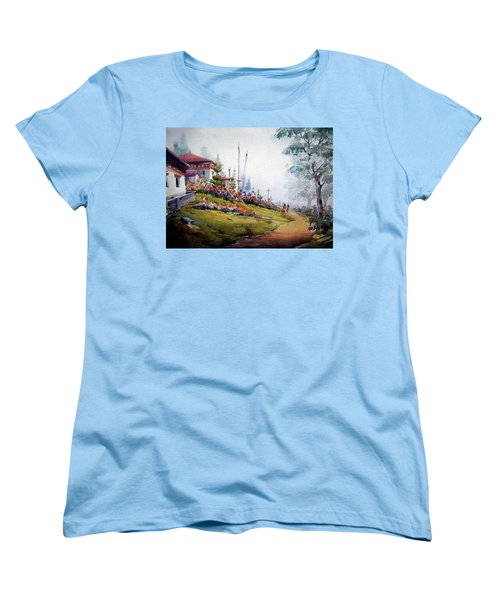Foggy Mountain Village Women's T-Shirt (Standard Cut) by Samiran Sarkar