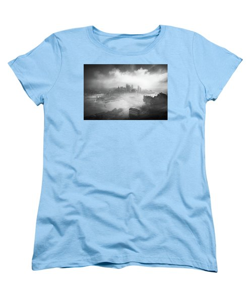 Women's T-Shirt (Standard Cut) featuring the photograph Foggy Pittsburgh  by Emmanuel Panagiotakis