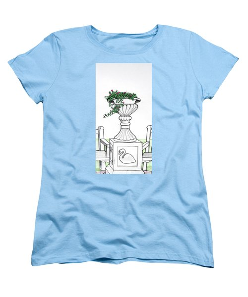 Women's T-Shirt (Standard Cut) featuring the drawing Foliage Fountain by Mary Ellen Frazee