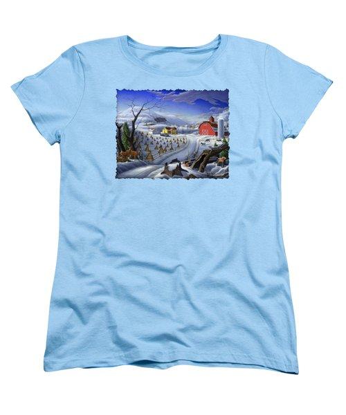 Folk Art Winter Landscape Women's T-Shirt (Standard Cut) by Walt Curlee