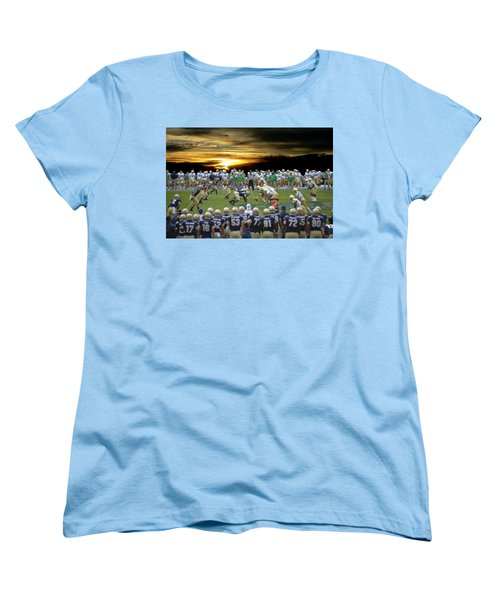 Football Field-notre Dame-navy Women's T-Shirt (Standard Cut) by EricaMaxine  Price