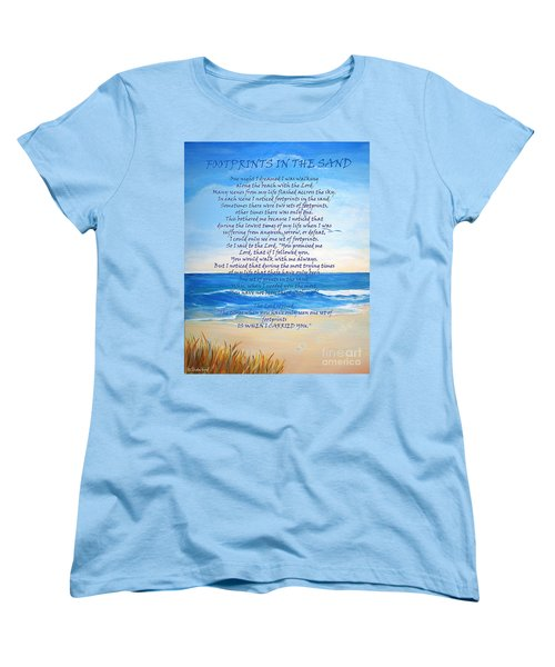 Women's T-Shirt (Standard Cut) featuring the painting Footprints In The Sand by Shelia Kempf