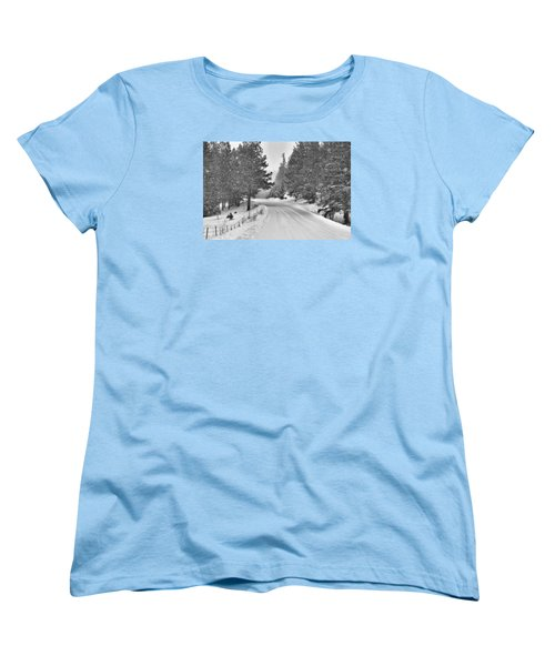 Forest Road In The Snow Women's T-Shirt (Standard Cut)