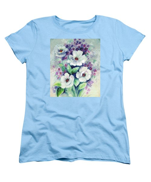 Women's T-Shirt (Standard Cut) featuring the painting Forget-me-knots And Roses by Hazel Holland