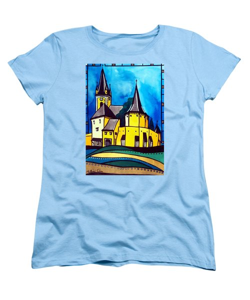Fortified Medieval Church In Transylvania By Dora Hathazi Mendes Women's T-Shirt (Standard Cut) by Dora Hathazi Mendes