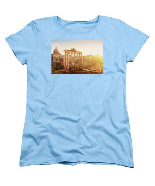 Forum - Roman Ruins In Rome At Sunrise Women's T-Shirt (Standard Cut) by Anastasy Yarmolovich