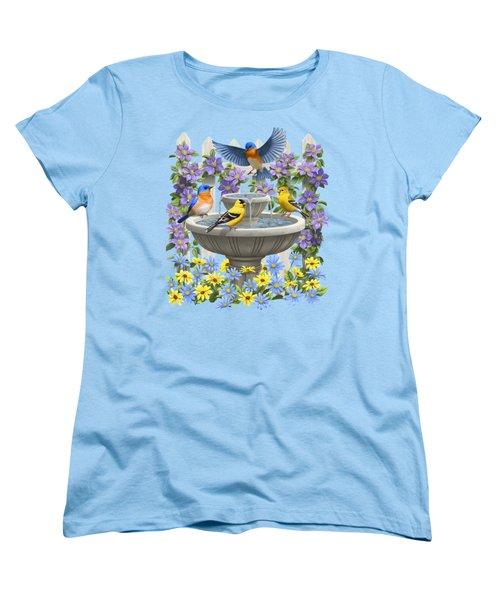 Fountain Festivities - Birds And Birdbath Painting Women's T-Shirt (Standard Cut) by Crista Forest