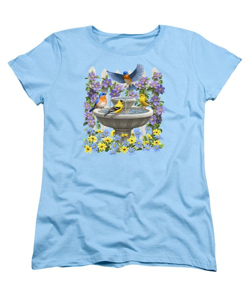 Fountain Festivities - Birds And Birdbath Painting Women's T-Shirt (Standard Cut)