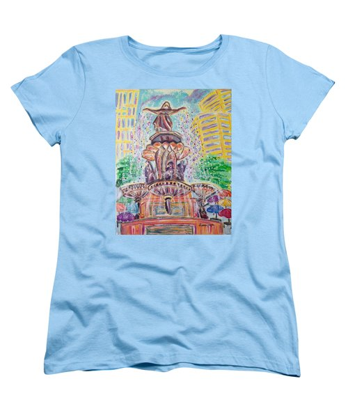 Women's T-Shirt (Standard Cut) featuring the painting Fountain Square  Cincinnati  Ohio by Diane Pape