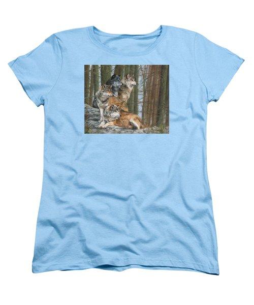 Four Wolves Women's T-Shirt (Standard Cut) by David Stribbling