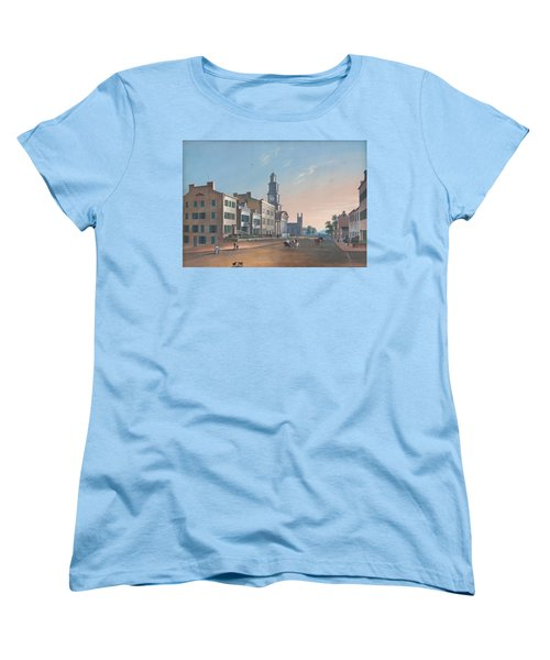 Women's T-Shirt (Standard Cut) featuring the painting Fourth Street. West From Vine by John Caspar Wild