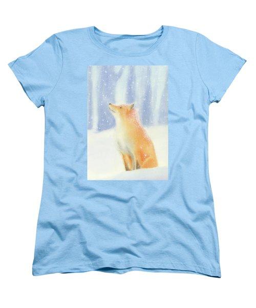 Fox In The Snow Women's T-Shirt (Standard Cut) by Taylan Apukovska