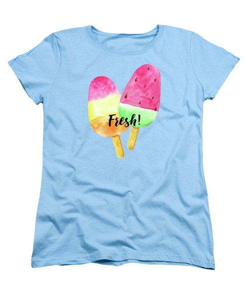 Fresh Summer Refreshing Fruit Popsicles Women's T-Shirt (Standard Cut) by Tina Lavoie
