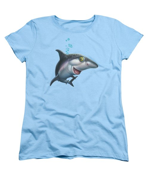 friendly Shark Cartoony cartoon under sea ocean underwater scene art print blue grey  Women's T-Shirt (Standard Cut)