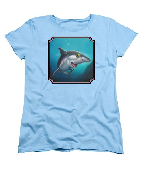 Friendly Shark Cartoony Cartoon - Under Sea - Square Format Women's T-Shirt (Standard Cut)