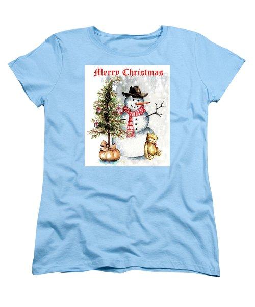 Frosty The Snowman Greeting Card Women's T-Shirt (Standard Cut) by Heidi Kriel