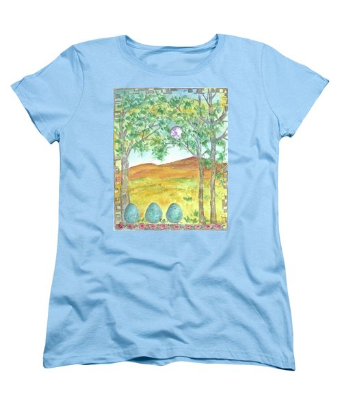 Women's T-Shirt (Standard Cut) featuring the drawing Full Moon And Robin Eggs by Cathie Richardson