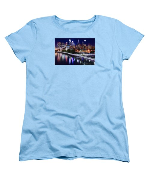 Full Moon Over Philly Women's T-Shirt (Standard Cut) by Frozen in Time Fine Art Photography