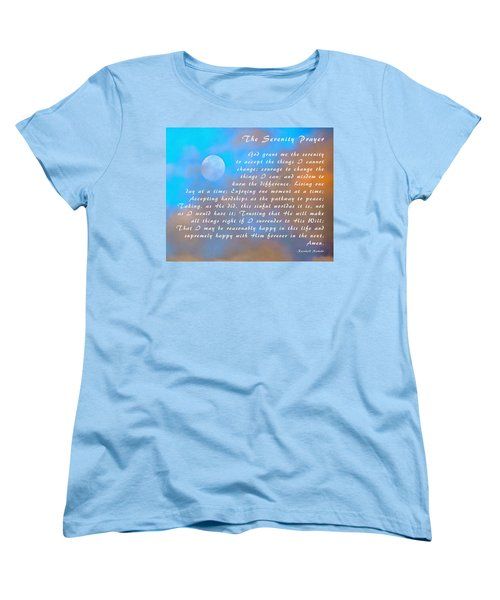 Women's T-Shirt (Standard Cut) featuring the photograph Full Moon Serenity Prayer Digital by Floyd Snyder