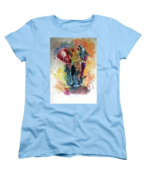 Women's T-Shirt (Standard Cut) featuring the painting Funny Elephant by Kovacs Anna Brigitta