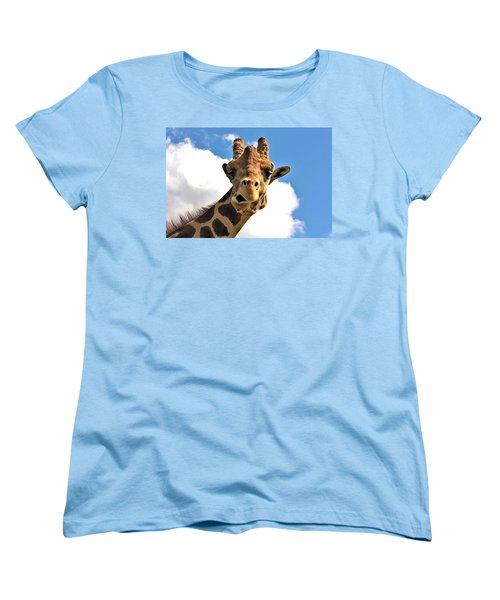 Funny Face Giraffe Women's T-Shirt (Standard Cut) by Sheila Brown