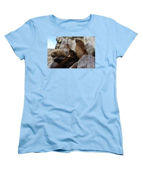 Women's T-Shirt (Standard Cut) featuring the photograph Fur Seals On The Ballestas Islands, Peru by Aidan Moran