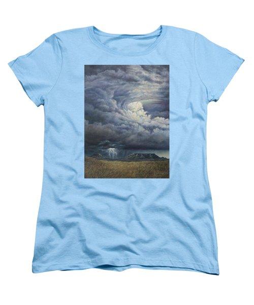 Fury Over Square Butte Women's T-Shirt (Standard Cut) by Kim Lockman