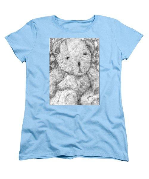 Women's T-Shirt (Standard Cut) featuring the drawing Fuzzy Wuzzy Bear  by Vicki  Housel